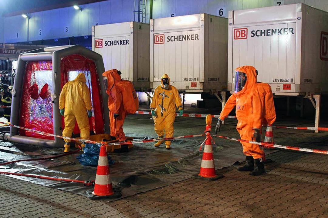 Gefahrguteinsatz bei einer Spedition im Bad Krozinger Ortsteil Biengen  | Foto: Feuerwehr