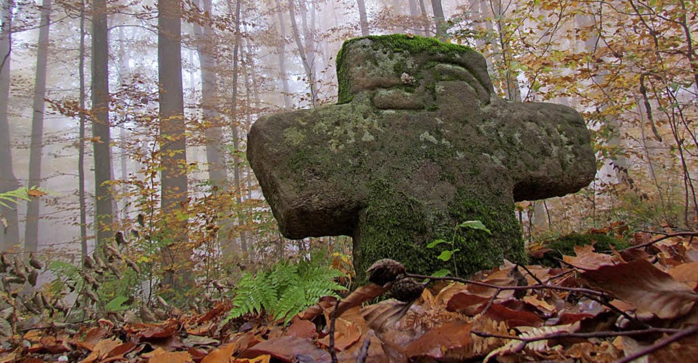 Zur Gruppe der Sühnekreuze, die an ein... der Sichelstein im Wald von Nordweil.  | Foto: Benedikt Sommer/Projekt (2)