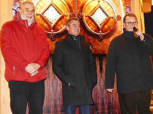 Bei der Eröffnung (von links): Markus Matz von der Kur und Bäder GmbH, Bad Krozingens Bürgermeister Volker Kieber und Gewerbeverbandsvorsitzender Peter Lob