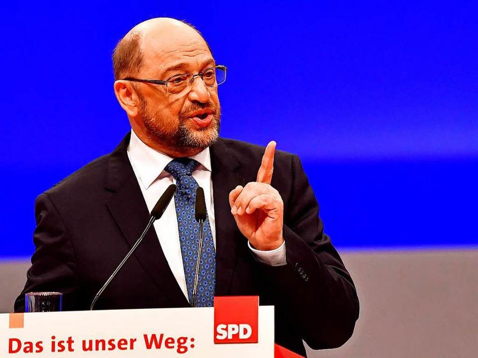 Martin Schulz auf dem Parteitag   | Foto: dpa