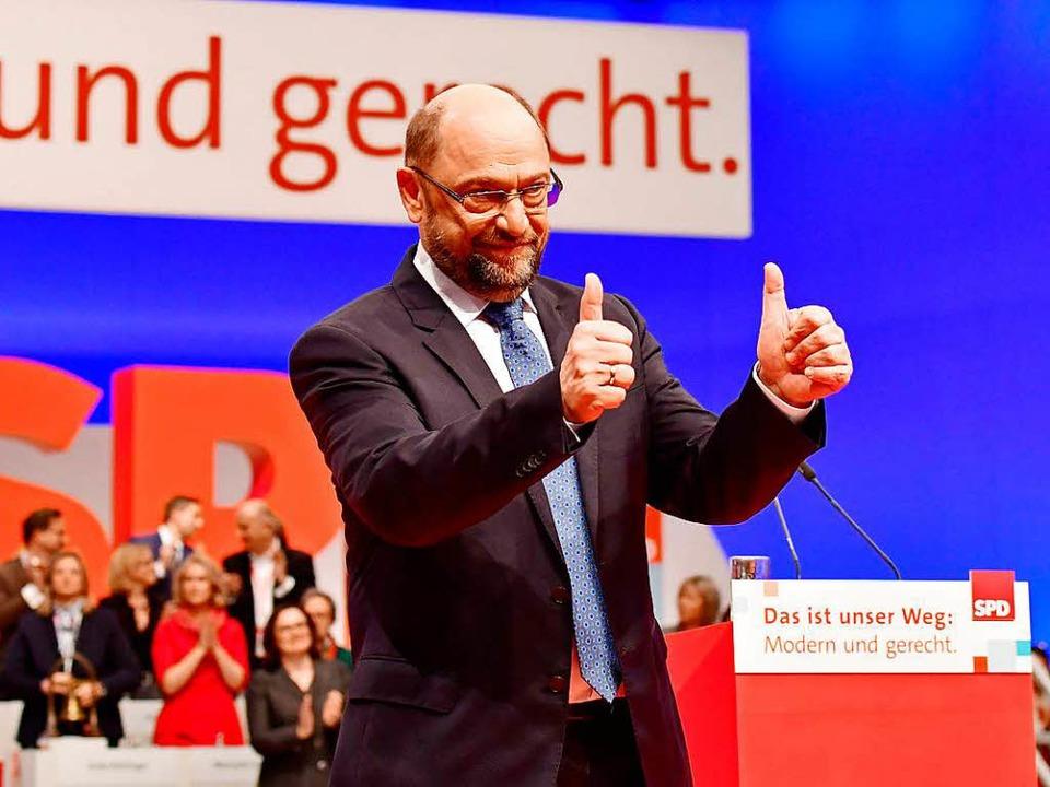 Martin Schulz beim SPD-Parteitag in Berlin  | Foto: AFP