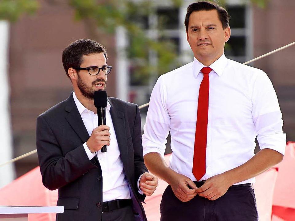 Julien Bender und Johannes Fechner bei...tin Schulz Mitte September in Freiburg  | Foto: Thomas Kunz