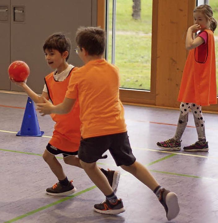 Handball-Aktionstag in der  Region:  B...to) und  der Grundschule Mietersheim.     Foto: Fotos: Markus Bürkle/Uwe Schwerer