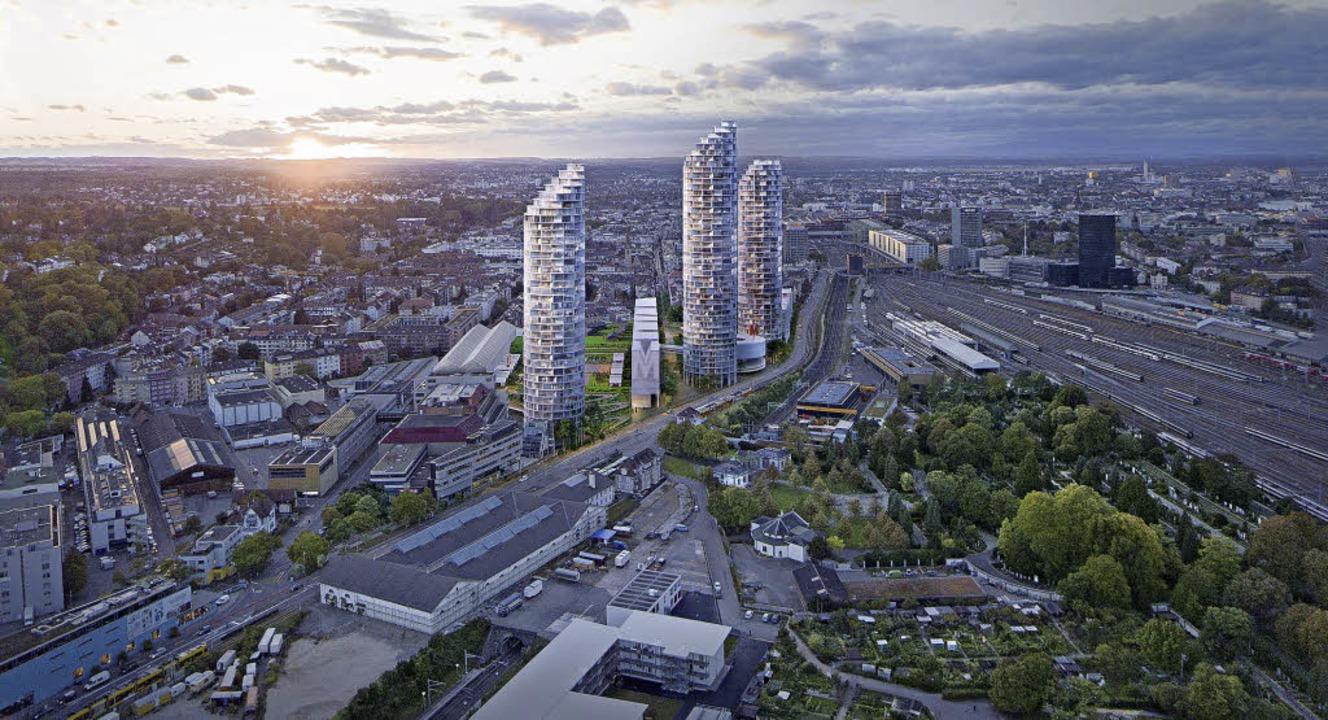 Drei Hochhäuser und sieben Würfel-Wohn...ollen Platz für 1400 Menschen bieten.   | Foto: Visualisierung: HdM