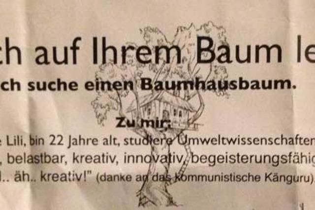 Freiburger Studentin sucht nach einem Baum für ihr Baumhaus