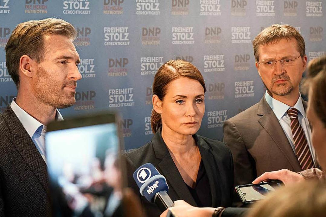 """""""Die neuen Patrioten"""": Par...) stellen sich den Fragen der Presse.     Foto: ARD"""