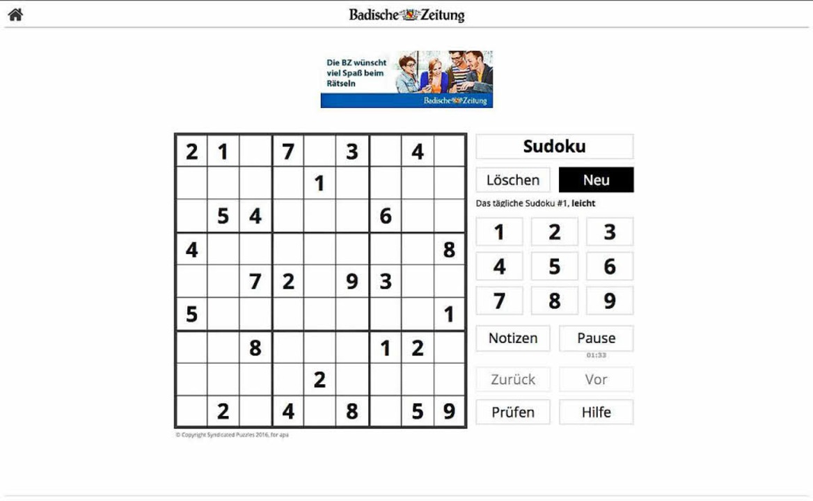 Neu: Jeden Tag gibt es ein interaktives Sudoku.  | Foto: bz