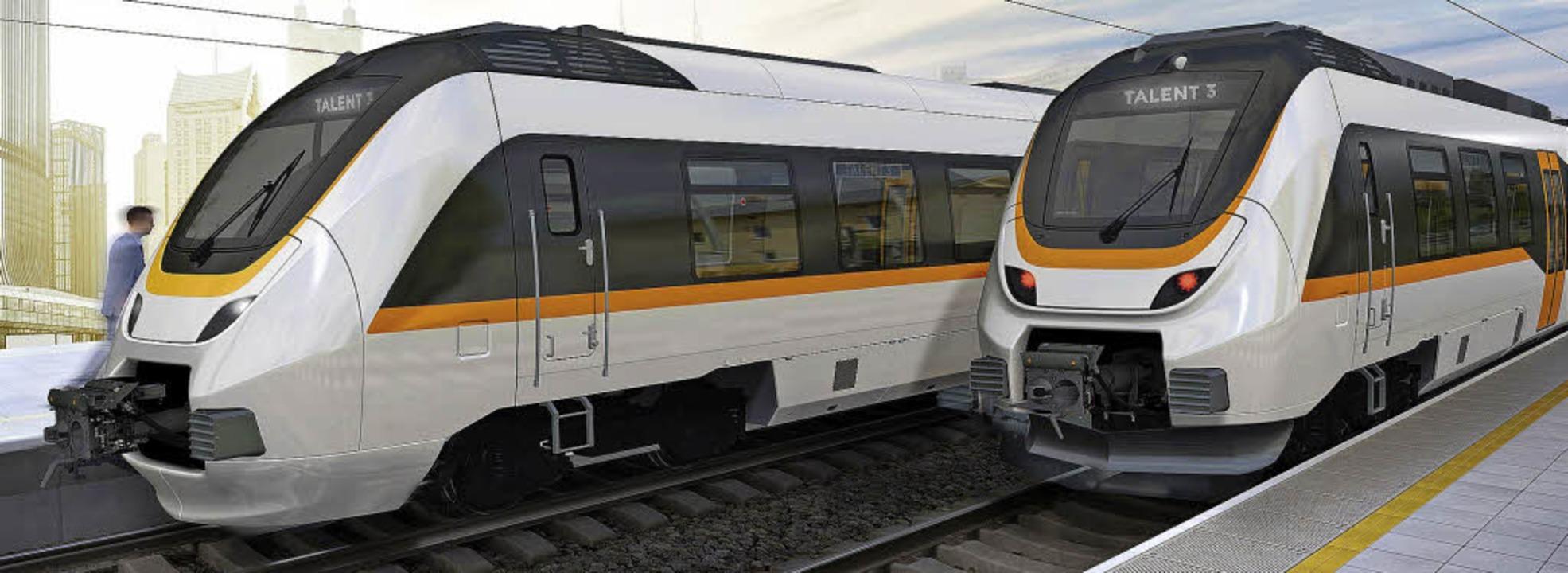 Talent-3-Züge sollen bald zum Einsatz kommen.   | Foto: Visualisierung: Bombardier/FotoS: Markus Zimmermann
