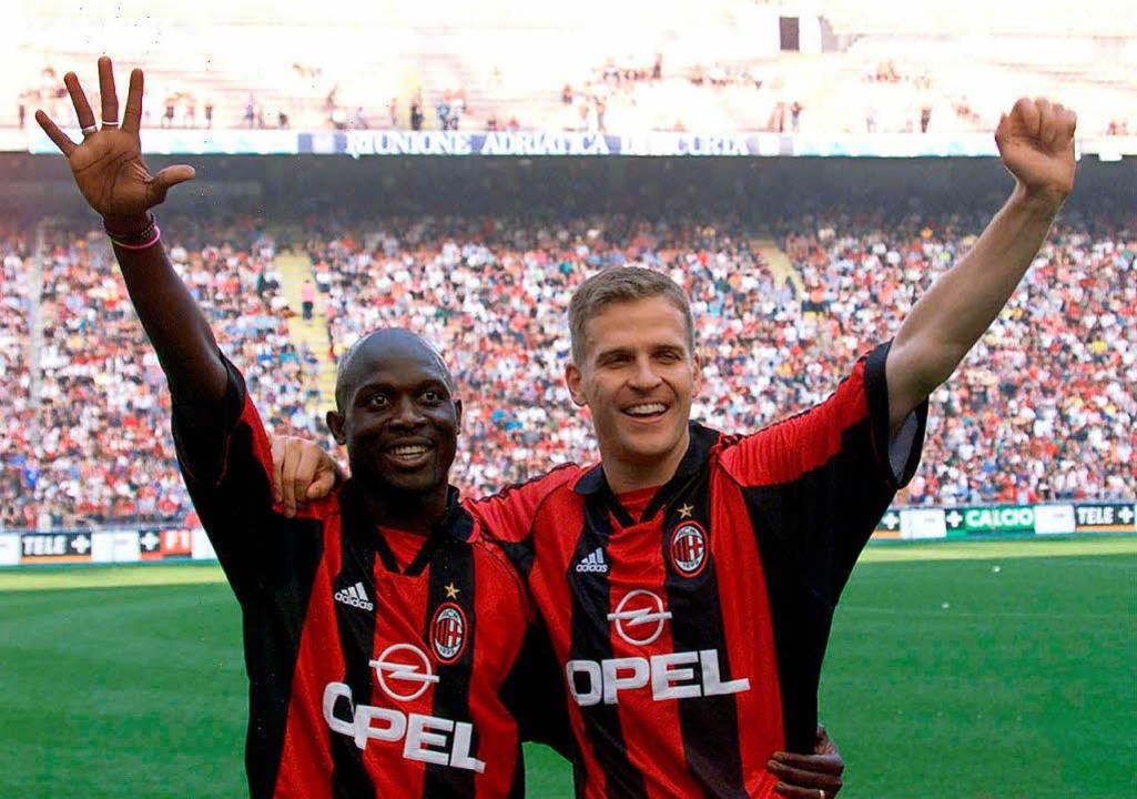 Weah und Oliver Bierhoff nach dem Gewinn der italienischen Meisterschaft 1999.    Foto: usage Germany only, Verwendung nur in Deutschland