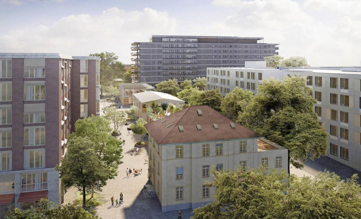 Eine Visualisierung des geplanten Quar...Felix-Platter-Spitals im Hintergrund.   | Foto: Visualisierung: Baugenossenschaft Wohnen & Mehr