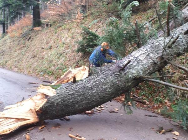 Stromausfall und versperrte Zufahrt bei Höfener Hütte beim Sturm