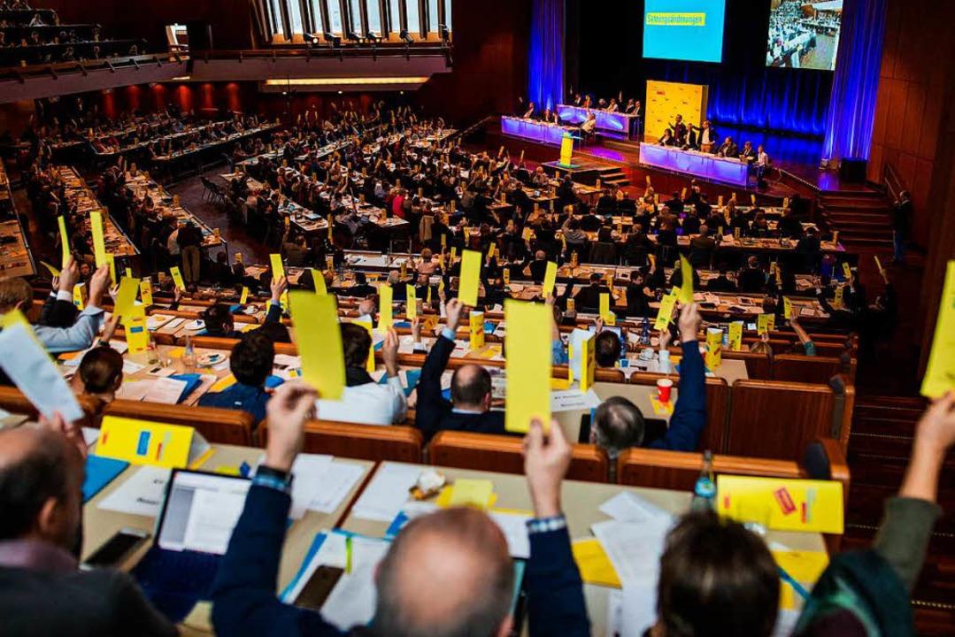 Delegierte stimmen beim Landesparteitag der FDP in Fellbach ab.  | Foto: dpa