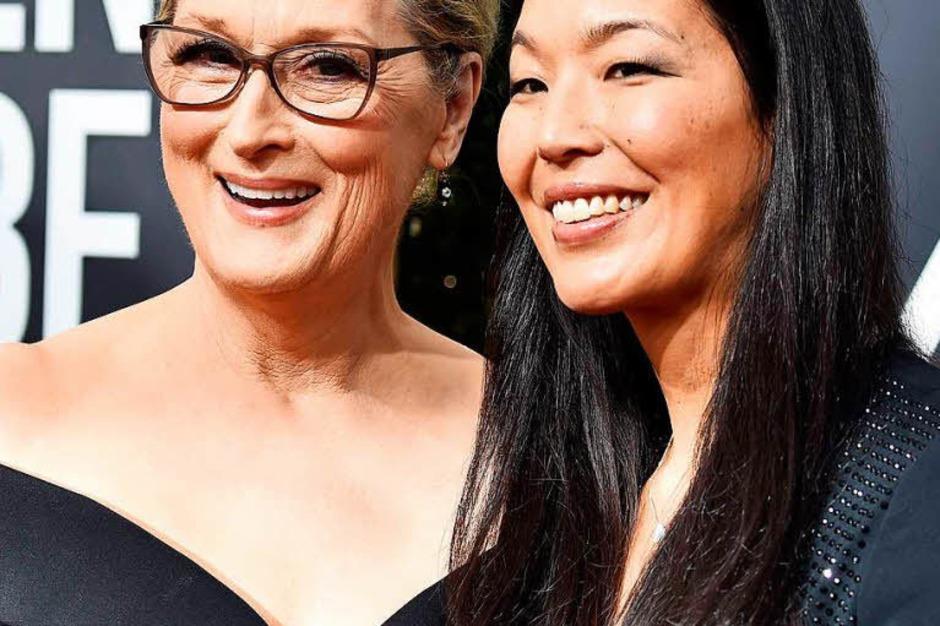 Zahlreiche Stars brachten als ihre Begleitung zudem Aktivistinnen oder Aktivisten mit. So kam Meryl Streep mit Ai-jen Poo, der Vorsitzenden der Nationalen Vereinigung der Hausangestellten. (Foto: AFP)