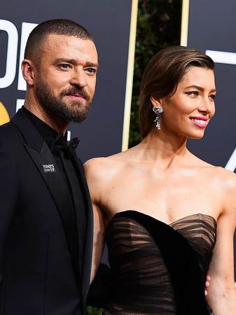 Justin Timberlake (l) und Jessica Biel