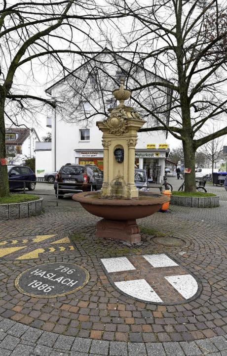 Rund um den Haslacher Dorfbrunnen soll...m-Wohnungen (Hintergrund) erweitert.    | Foto: Thomas Kunz