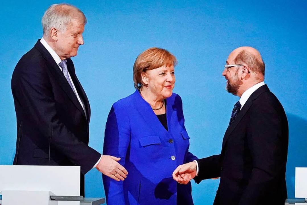 Der CSU-Vorsitzende Horst Seehofer (li...n nach einer Pressekonferenz die Hand.  | Foto: dpa