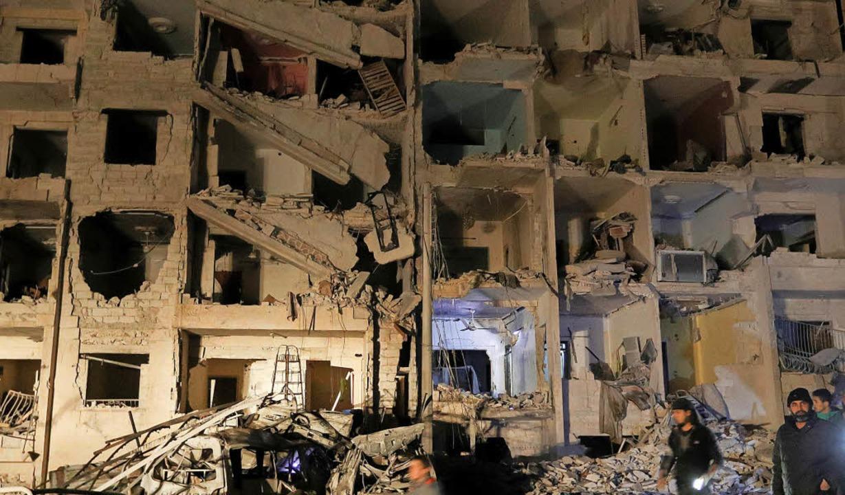 Totale Zerstörung: ein Haus nach einer Explosion in der Stadt Idlib     Foto: AFP