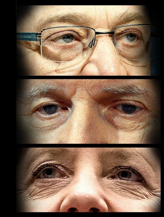 Die Müdigkeit sticht ins Auge (von obe...ela Merkel (CDU) am Freitagvormittag.   | Foto: dpa
