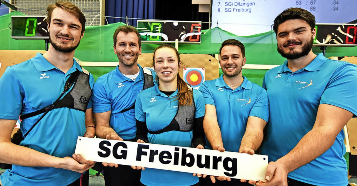 Der Kader der Freiburger Bogenschützen... Koch, Adrian Faber und Pascal Langer   | Foto: Patrick Seeger