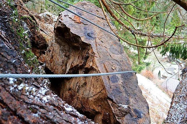 Felsbrocken oberhalb von Mambach bedrohte ein Haus