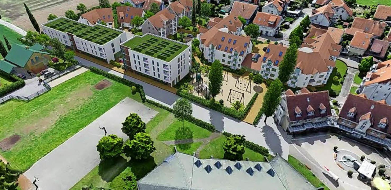 Das Modell des geplanten Begegnungshauses Am Stockacker (links)  | Foto: Kommunalkonzept