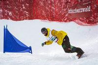 Snowboarder Jana Fischer und Paul Berg stürzen