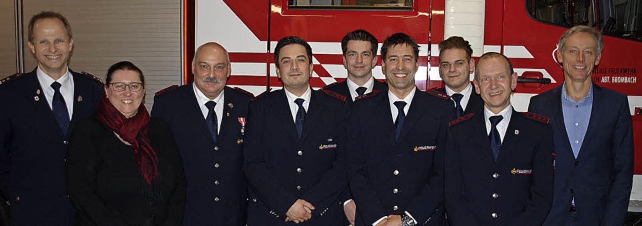 Die Feuerwehr Brombach ehrte und beför...ck, Andreas Basler und Michael Wilke.   | Foto: Paul Schleer