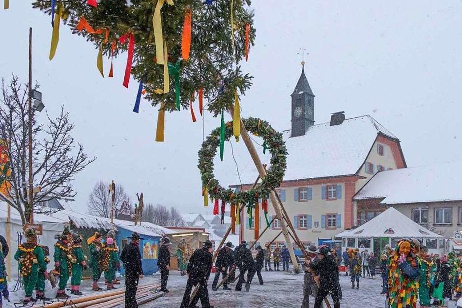 Die Lenzkircher Patenzunft Dengele stellt den Narrenbaum in Grafenhausen. (Foto: Wilfried Dieckmann)