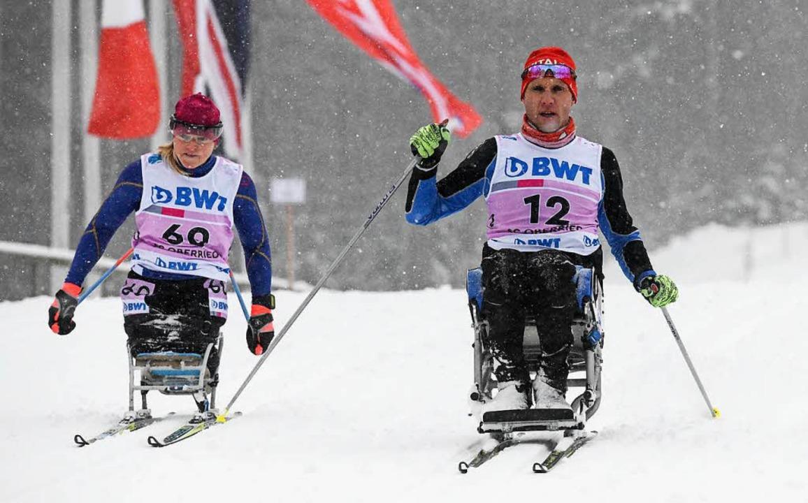 Tiefschneesurfer: Benjamin Rudiger (re...rsten Weltcup-Rennen auf dem Notschrei    Foto: Patrick Seeger