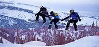 Fliegende Wintersportler