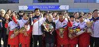 Empfang für Nordkoreas Eishockeyspielerinnen