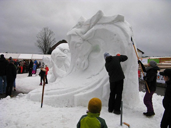 Fotos Schneeskulpturenfestival in Bernau 2018.