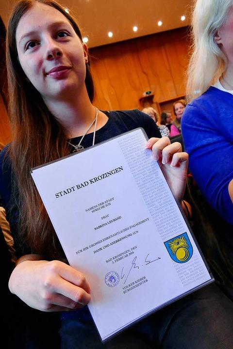 Ehrungen beim Bürgerneujahrsempfang  B...n 2018. Sabrina Leuband vom Jugendteam  | Foto: Susanne Müller