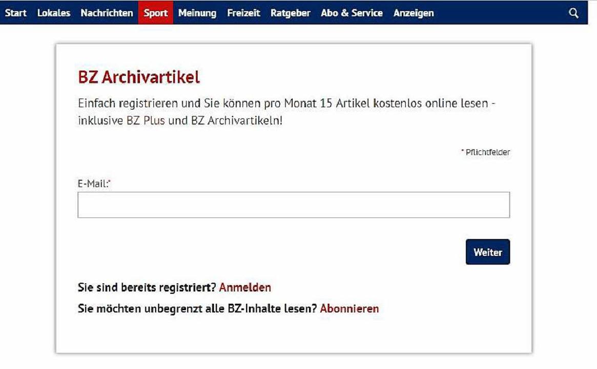 Wer einen älteren Archivartikel anklic...r Badischen Zeitung kostenlos möglich.  | Foto: bz