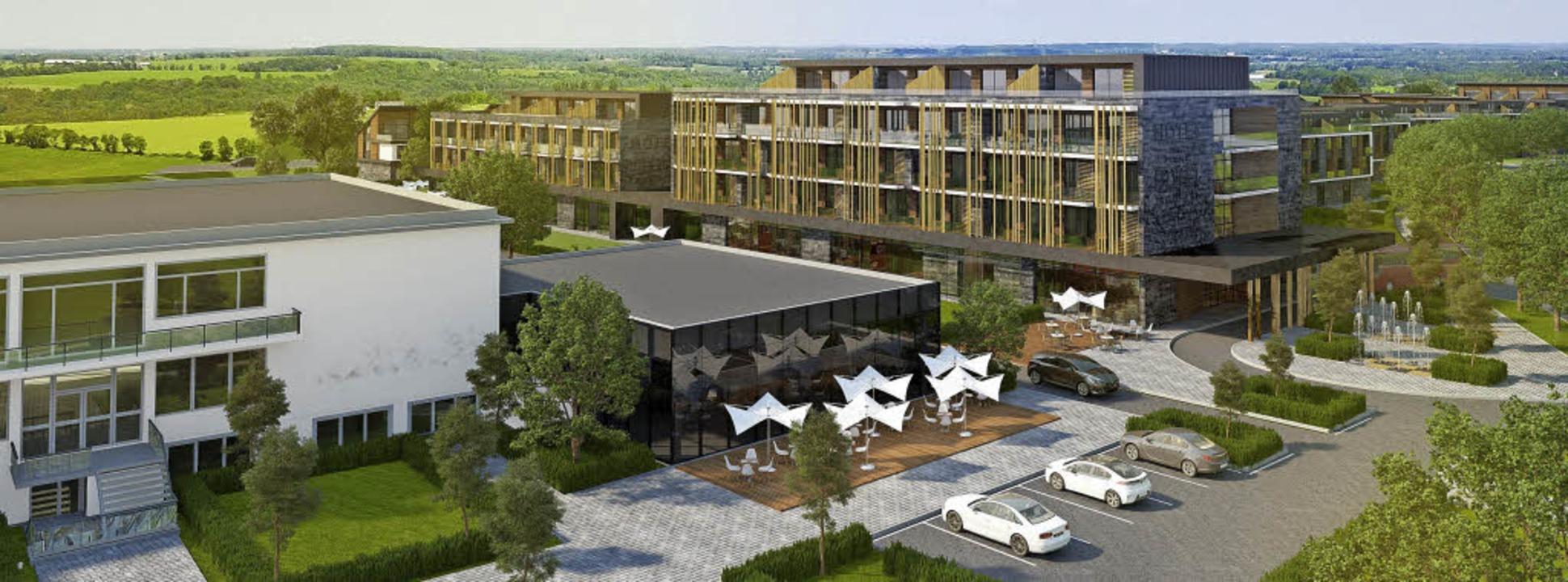 So könnte der Hotelkomplex einmal auss...ehaus am Kirchzartener Kurhaus plant.   | Foto: Visualisierung: Planungsbüro/Foto: Donner