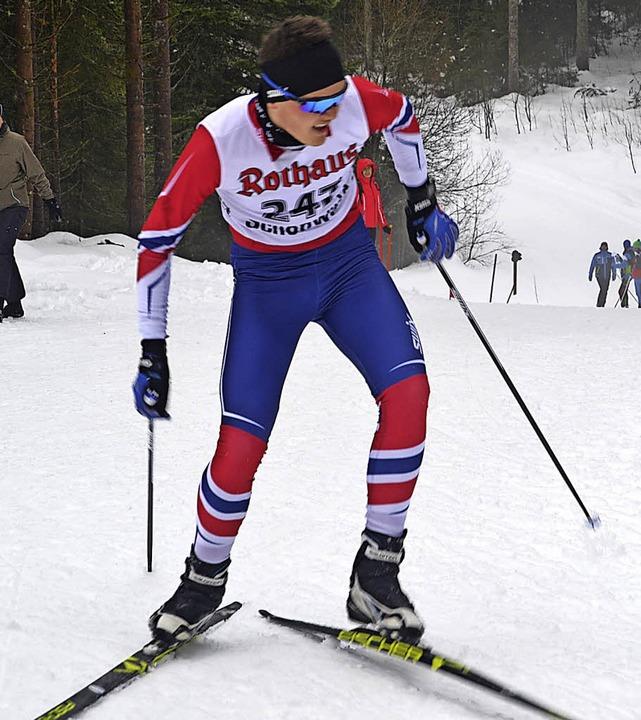 Leopold Hensler vom SC Langenordnach g...m Einzel-Rennen der Altersklasse U 15.  | Foto: junkel