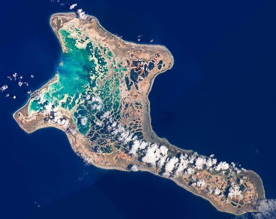 Das Atoll Kiritimati gehört zum pazifi...vomKlimawandel unmittelbar betroffen.  | Foto: NASA