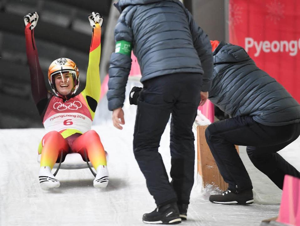 Holt die Goldmedaille im Rodeln: Natalie Geisenberger  | Foto: AFP