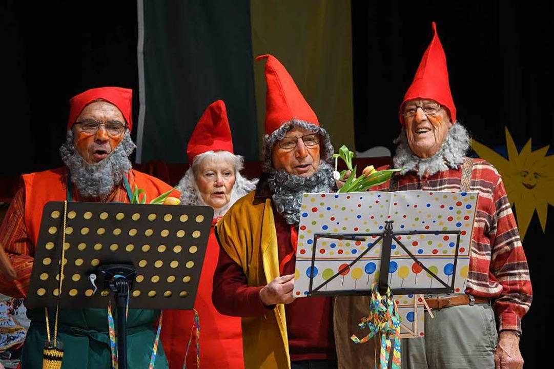 Auftritt des Ringchors in Gartenzwerg-Montur  | Foto: Katrin Dorfs