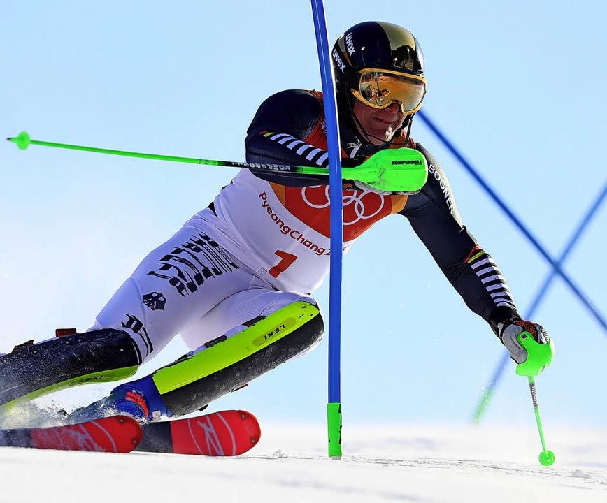 Im Slalom büßte Thomas Dreßen Zeit ein... der Abfahrt war er nicht zu schlagen.  | Foto: dpa