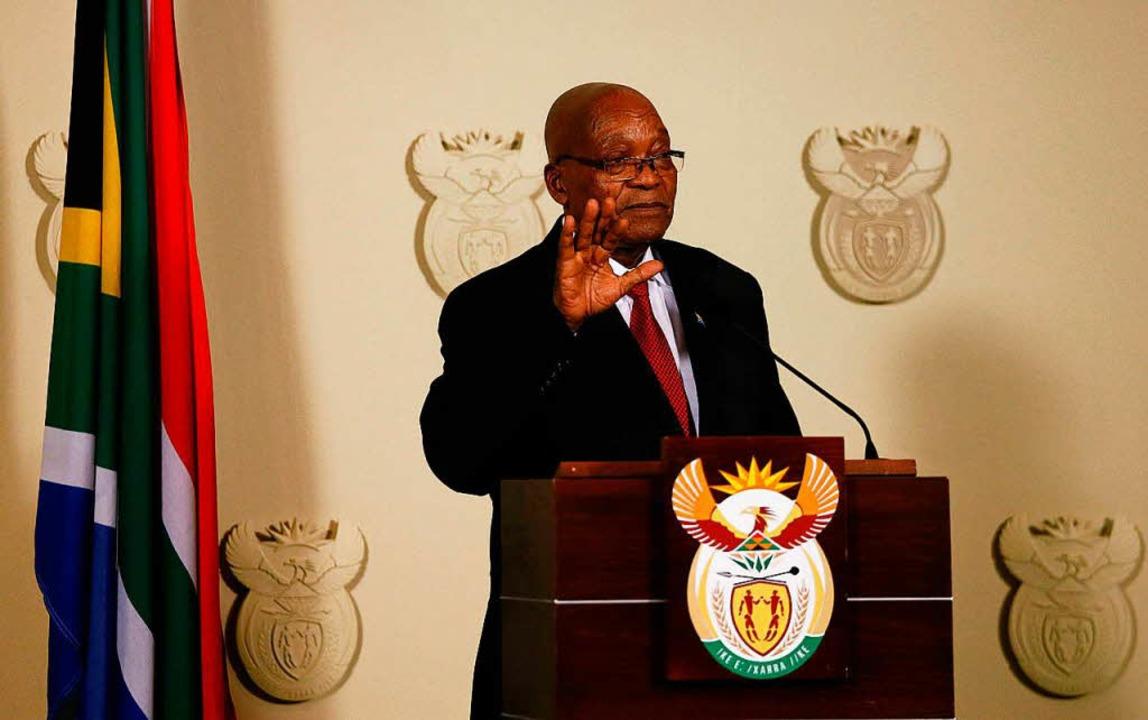 Südafrikas Präsident Jacob Zuma verkün... Pretoria seinen sofortigen Rücktritt.  | Foto: AFP