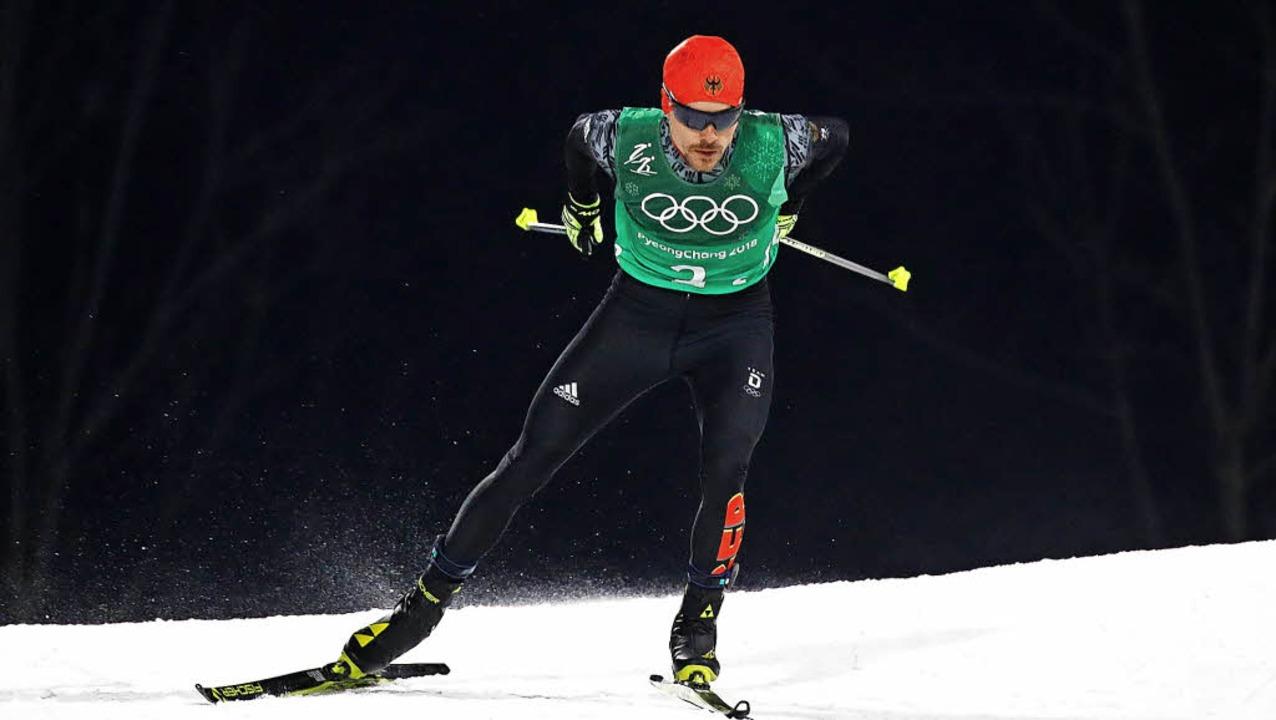 Auf dem Weg zum Olympiasieg mit der 4x5-Kilometer-Staffel: Fabian Rießle   | Foto: Bachmann (2) afP