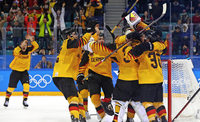 Deutsches Eishockey-Team im Olympia-Finale