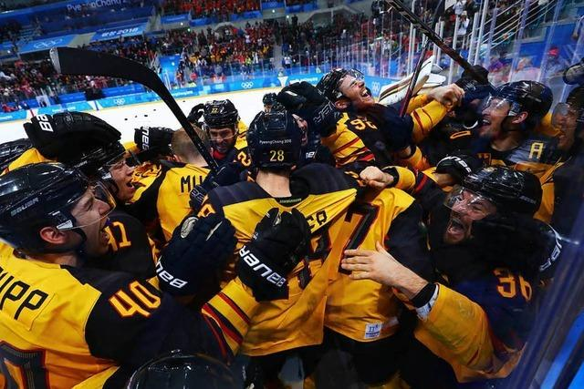 So feierte das DEB-Team den Sieg über Kanada
