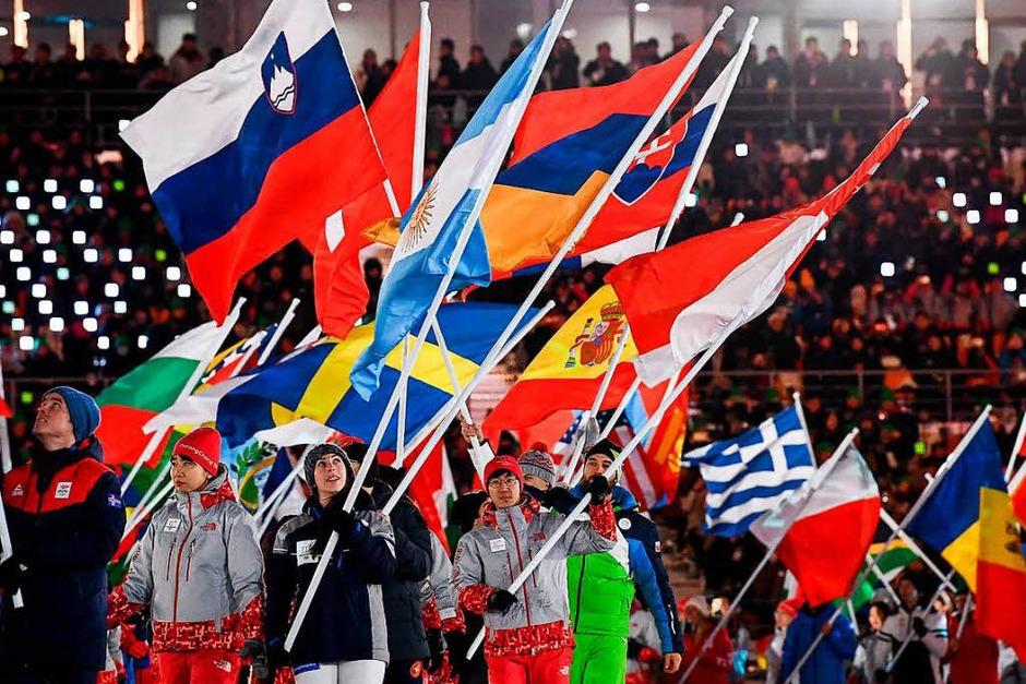 Kunterbunte Abschlussfeier der Olympischen Winterspiele in Pyeongchang (Foto: AFP)