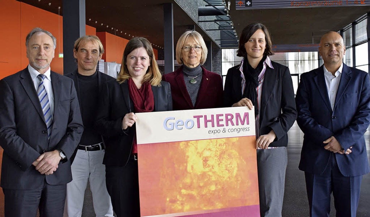 Werben für die Geotherm (von links): D...ch Hahne (Herrenknecht Vertical GmbH)   | Foto: Julia trauden