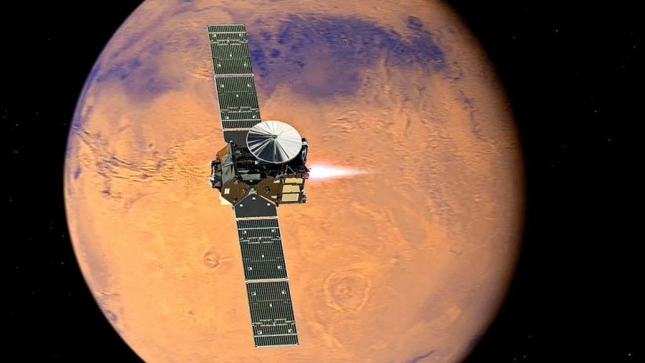 Die Illustration der Esa zeigt, wie da... durch die Atmosphäre des Mars fliegt.  | Foto: dpa