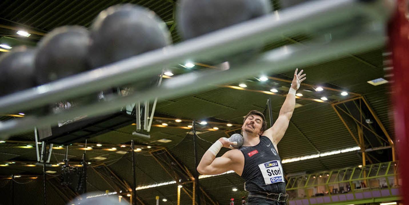David Storl bei der deutschen Hallenmeisterschaft im Februar in Dortmund  | Foto: dpa