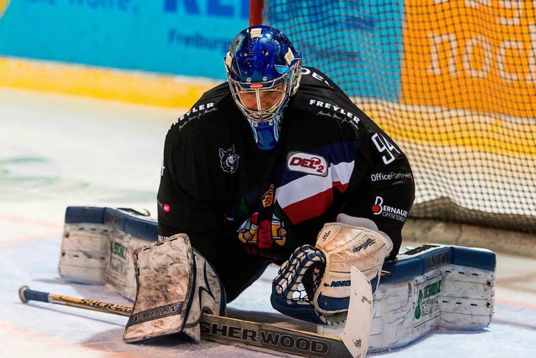 Steht dem EHC Freiburg in den Playdown...Wölfl von den Schwenninger Wild Wings   | Foto: Patrick Seeger