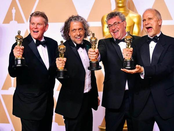 """Visuelle Effekte: Richard R. Hoover, Paul Lambert, Gerd Nefzer und John Nelson (von rechts) für """"Blade Runner 2049"""""""